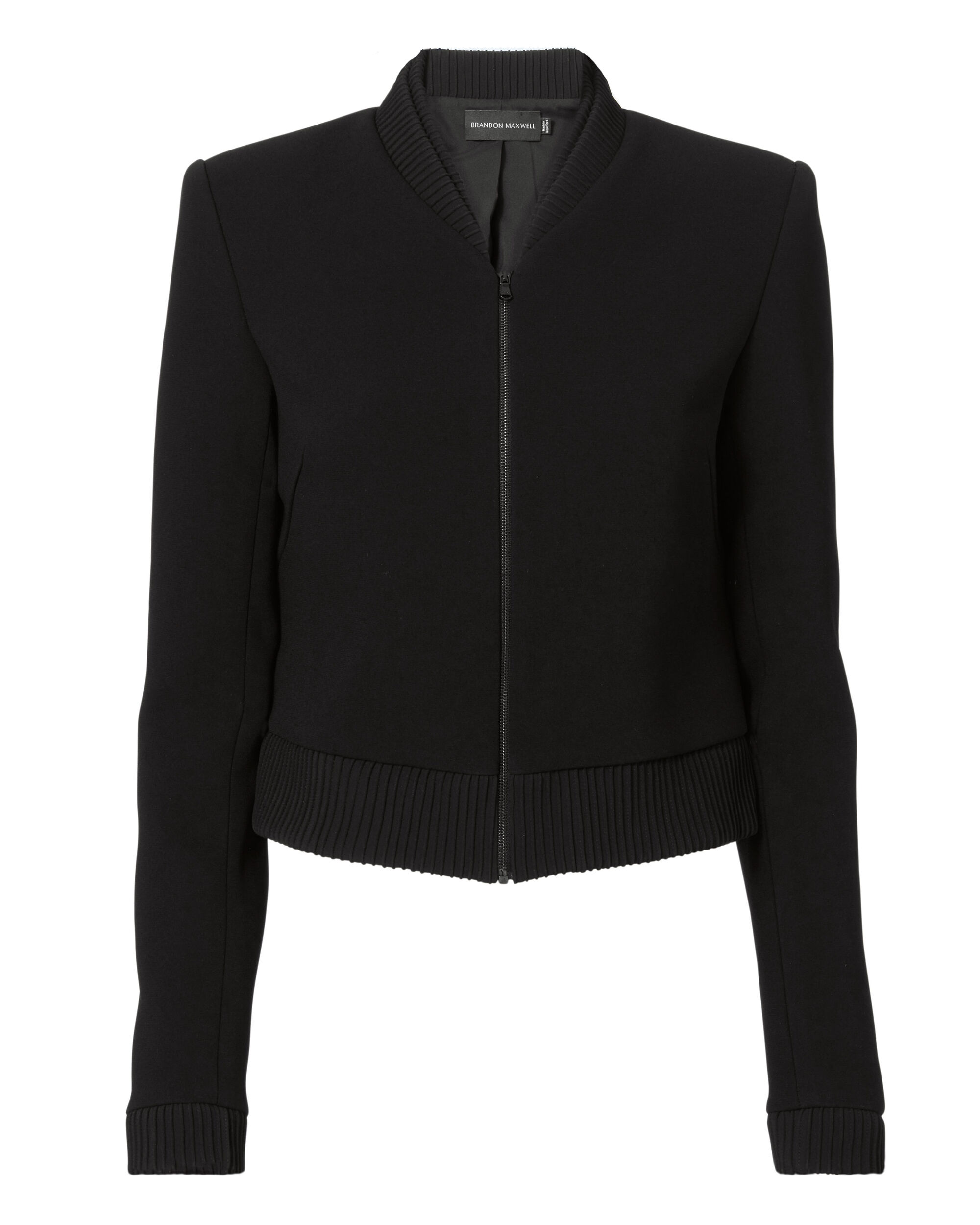 Double-Faced Cropped Bomber Jacket, BLACK, hi-res
