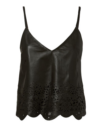 Bristol Eyelet Leather Tank, BLACK, hi-res