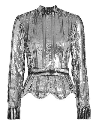 Mock Neck Sequin Top, SILVER, hi-res