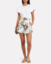 Allia Floral Linen Shorts, WHITE/FLORAL, hi-res