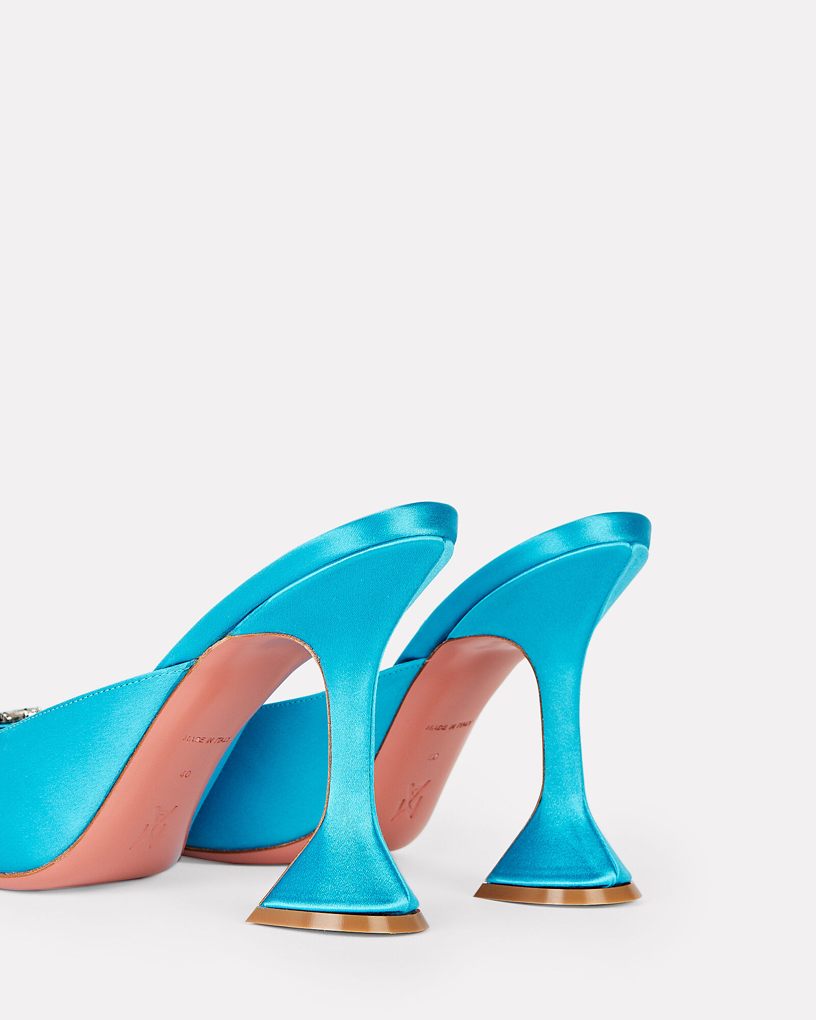 Begum Satin Mules, BLUE, hi-res