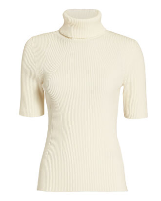 Ribbed Turtleneck Top, WHITE, hi-res