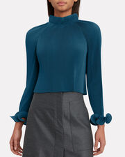 Teal Pleated Crop Top, BLUE-MED, hi-res