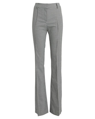 Hibiscus Houndstooth Flared Trousers, BLACK/WHITE HOUNDSTOOTH, hi-res