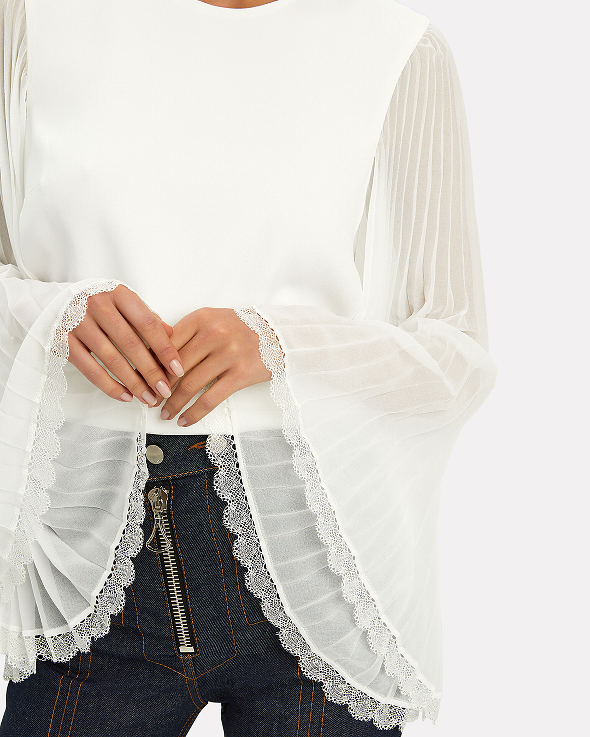 Pleated Sleeve White Blouse, WHITE, hi-res
