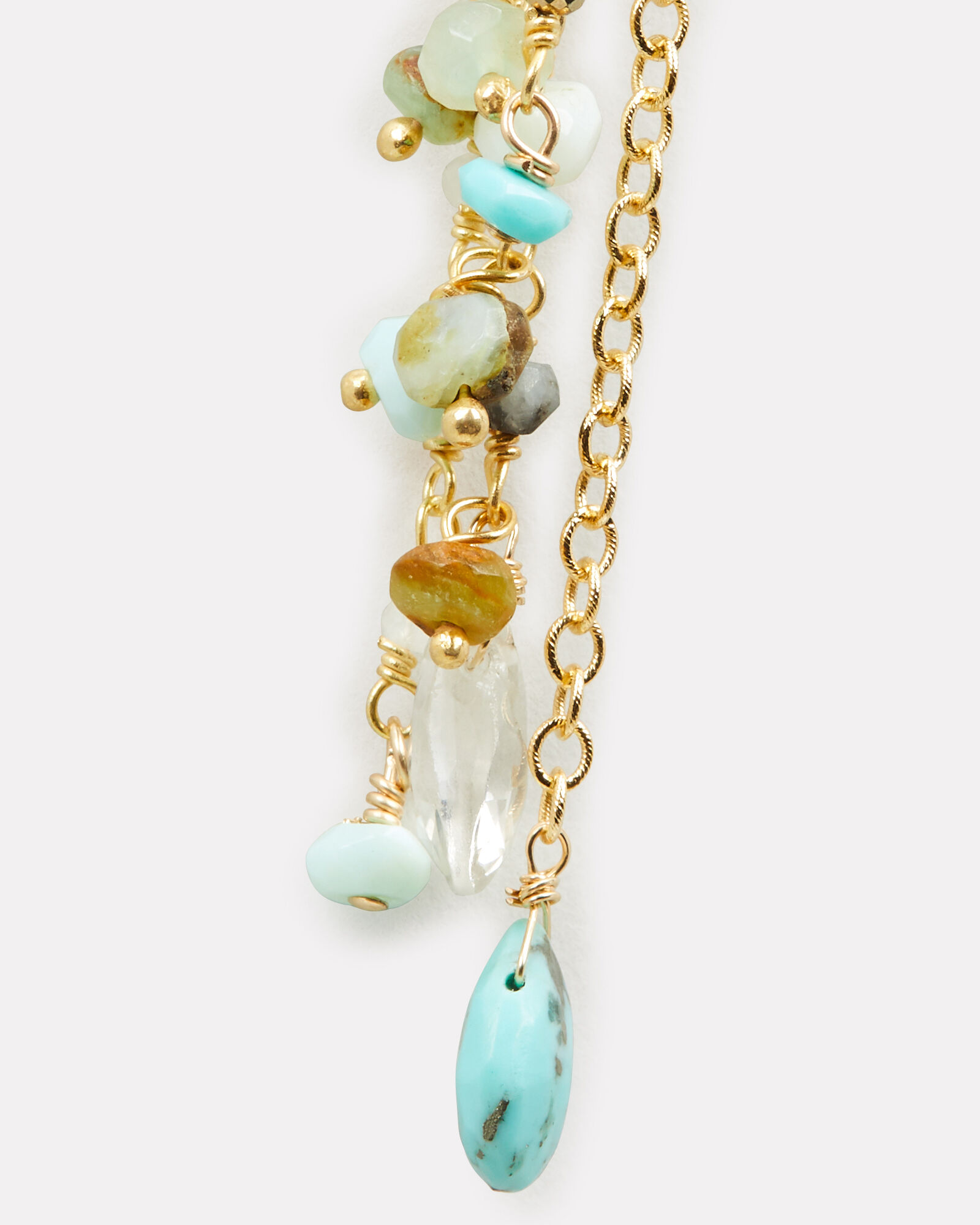 Mixed Stone Chain Drop Earrings, BLUE-MED, hi-res