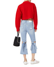 Red Knit Cropped Sweater, RED, hi-res