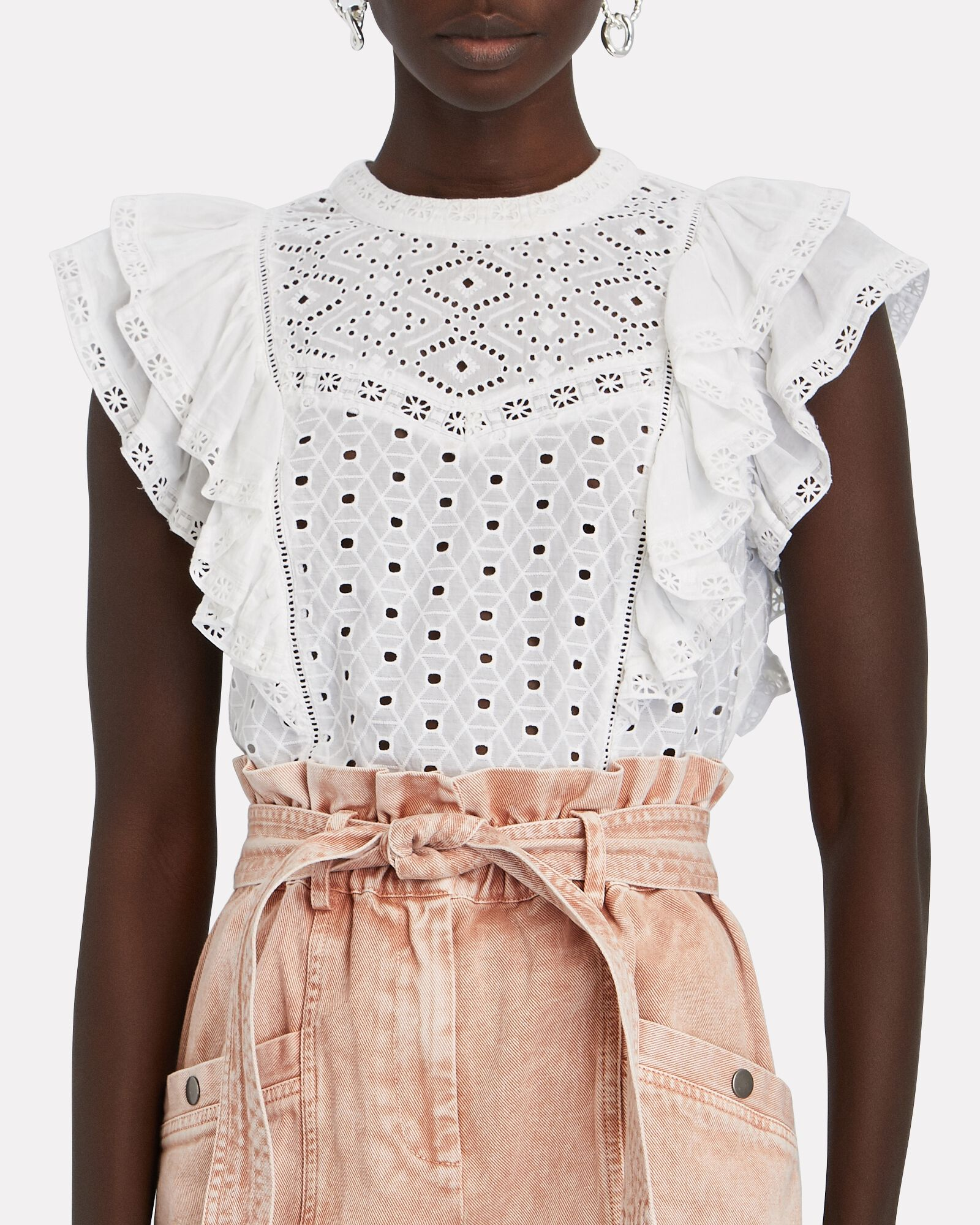 Jie Cotton Eyelet Top, WHITE, hi-res