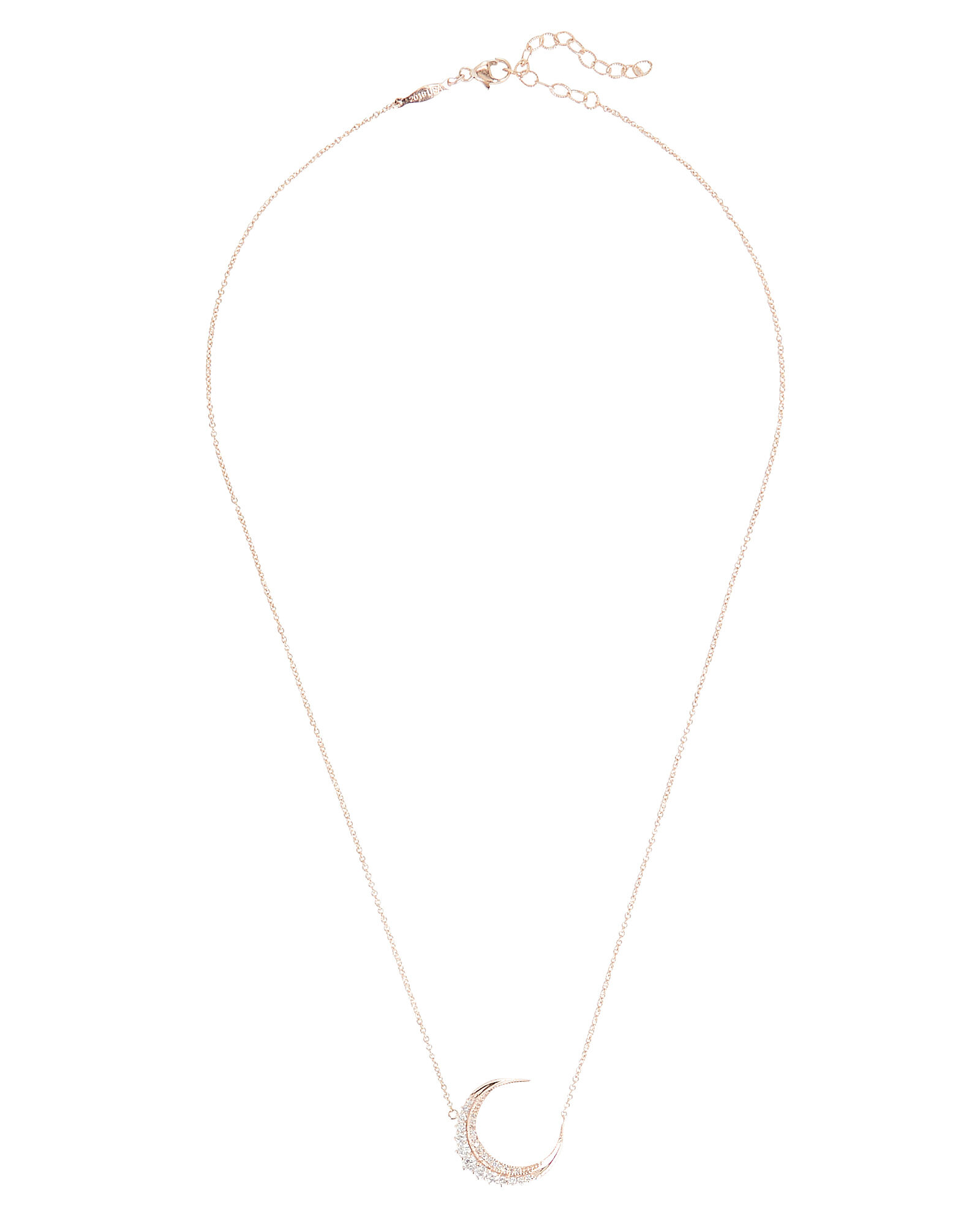 Graduated Diamond Crescent Moon Necklace, ROSE, hi-res