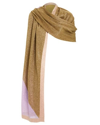 Colorblock Lurex Wrap, GOLD/LILAC, hi-res