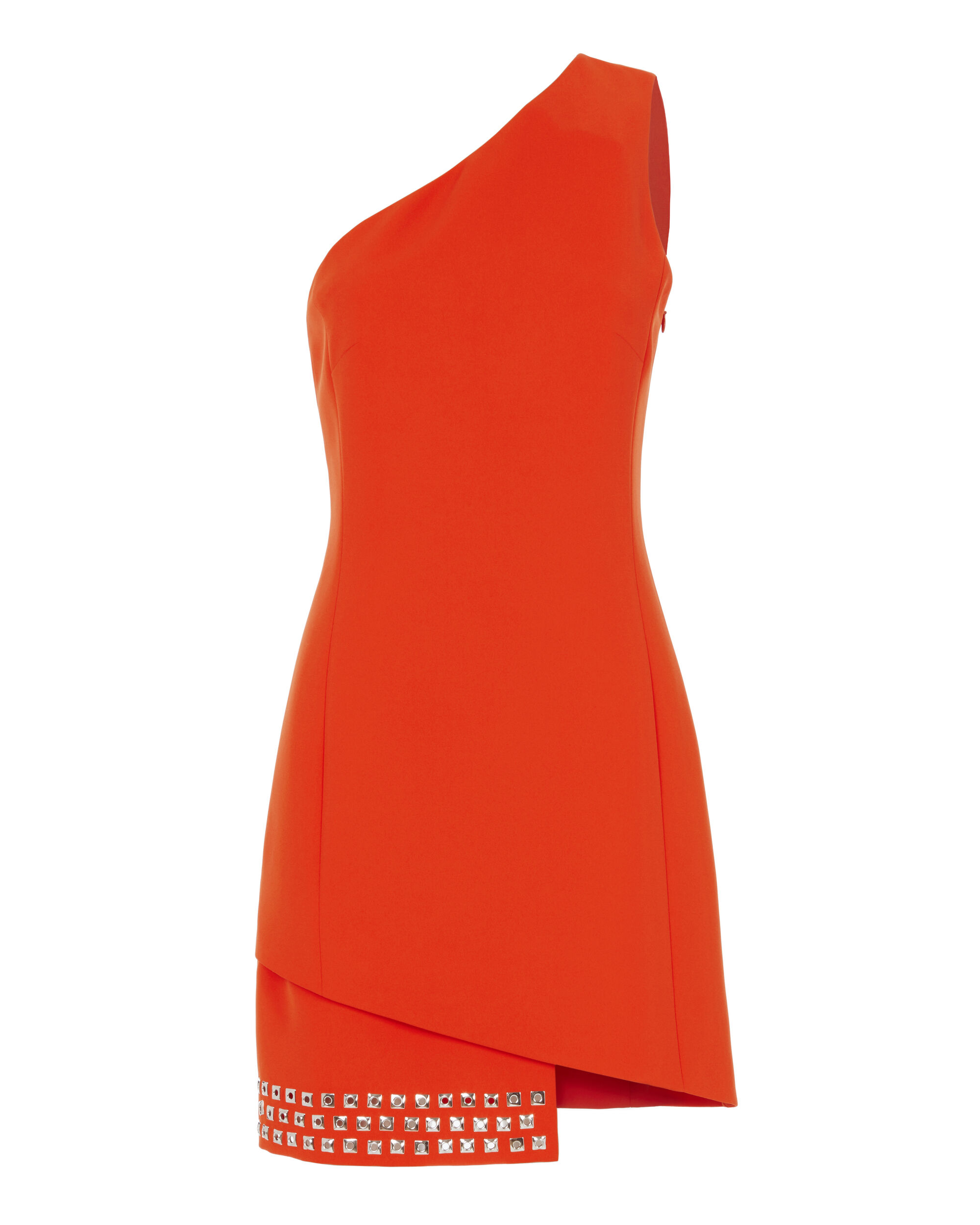 Cady One Shoulder Grommet Dress, ORANGE, hi-res