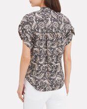 Sanaa Floral Button Front Shirt, BLACK, hi-res