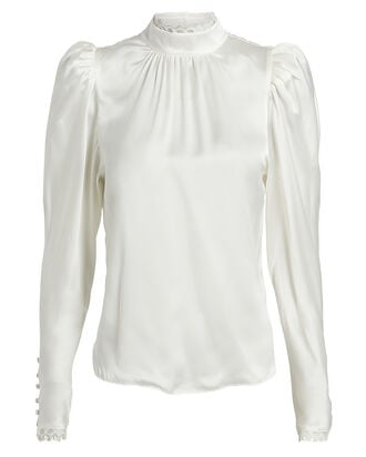 Lace-Trimmed Silk Charmeuse Blouse, WHITE, hi-res