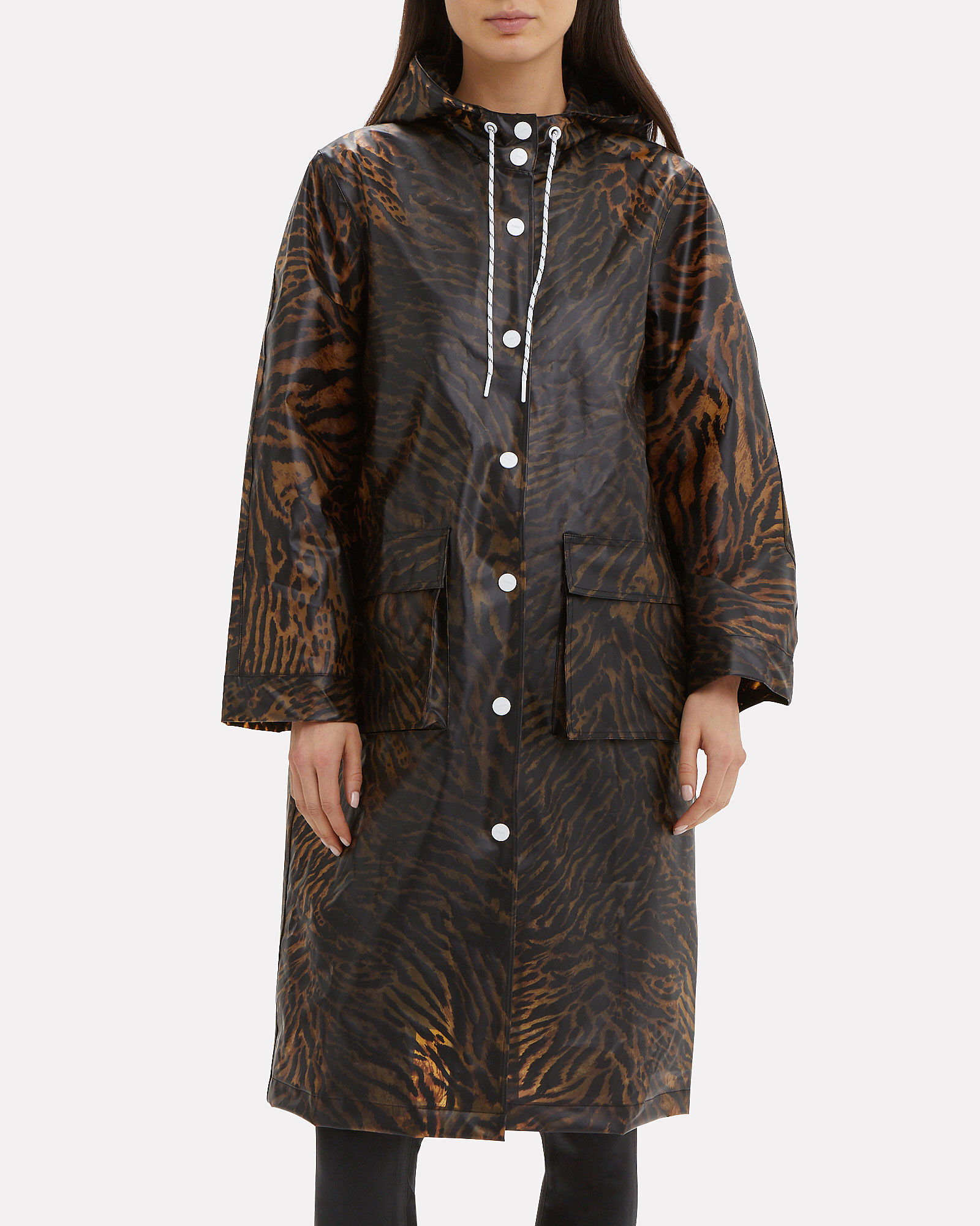 Tiger Print Rain Jacket, BROWN, hi-res