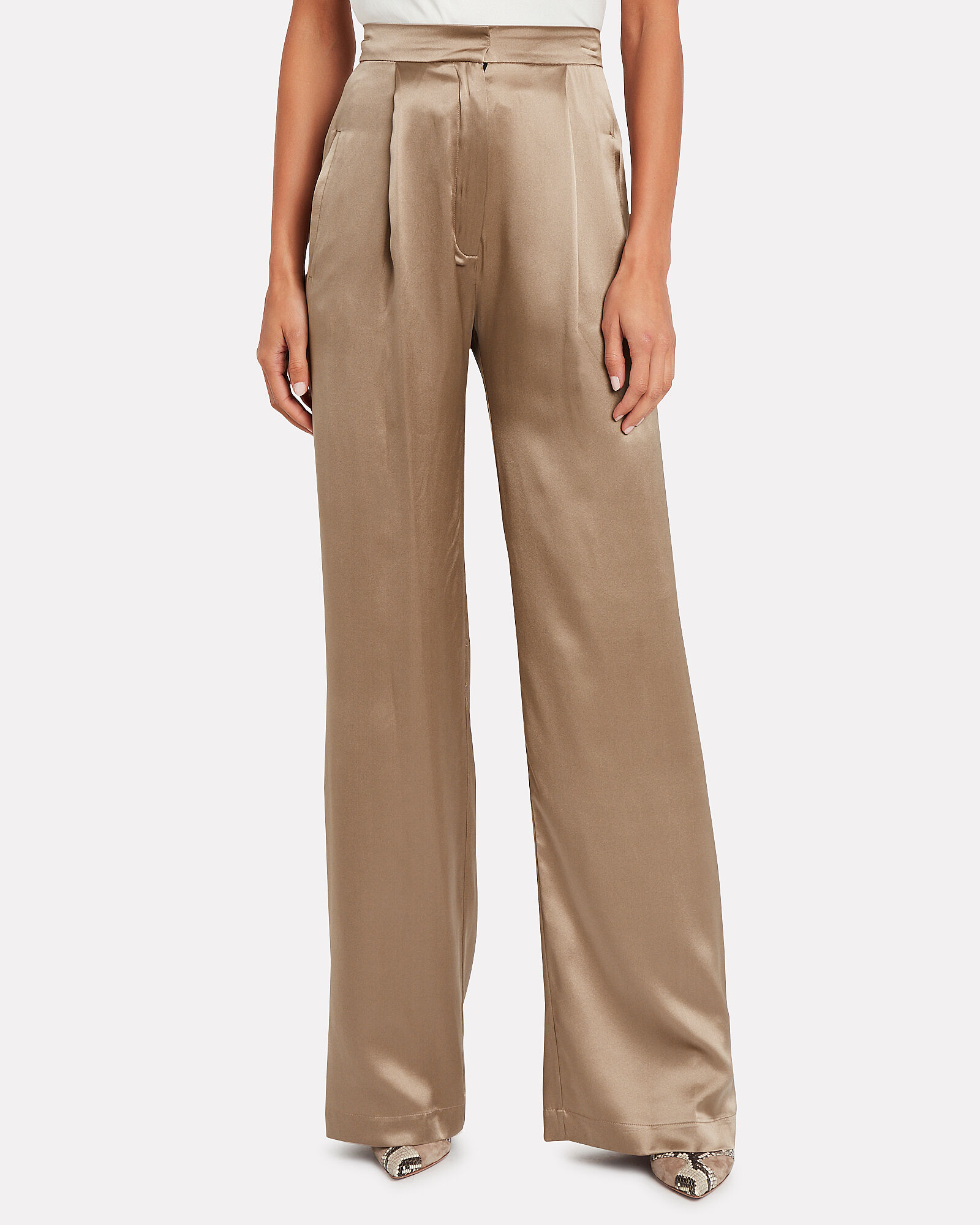 Sable Silk Wide-Leg Trousers, TAUPE, hi-res