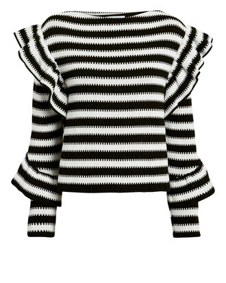 Black And White Ruffle Sweater, BLACK/WHITE, hi-res