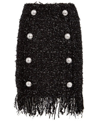 Fringed 8 Button Tweed Mini Skirt, BLACK, hi-res