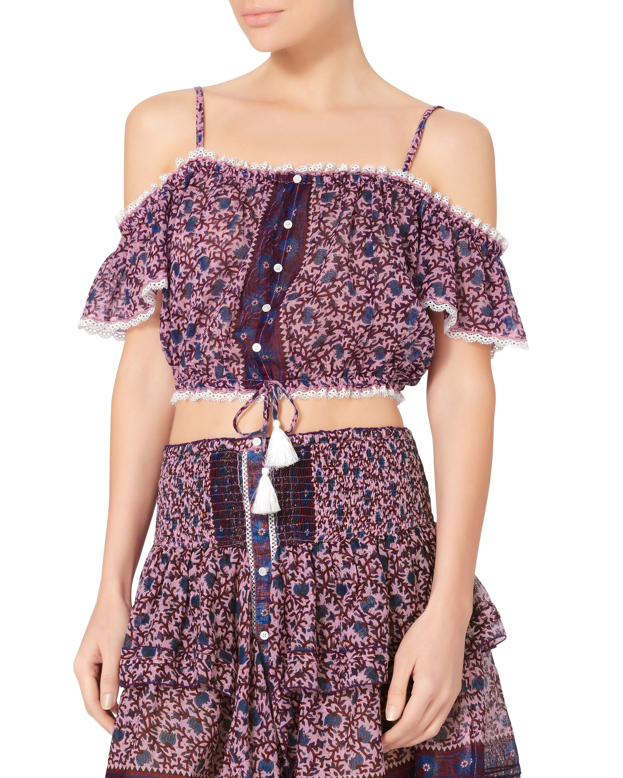 Honey Cold Shoulder Crop Top, PRI-FLORAL, hi-res