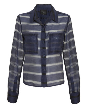 Cameron Sheer Panel Blouse, NAVY, hi-res