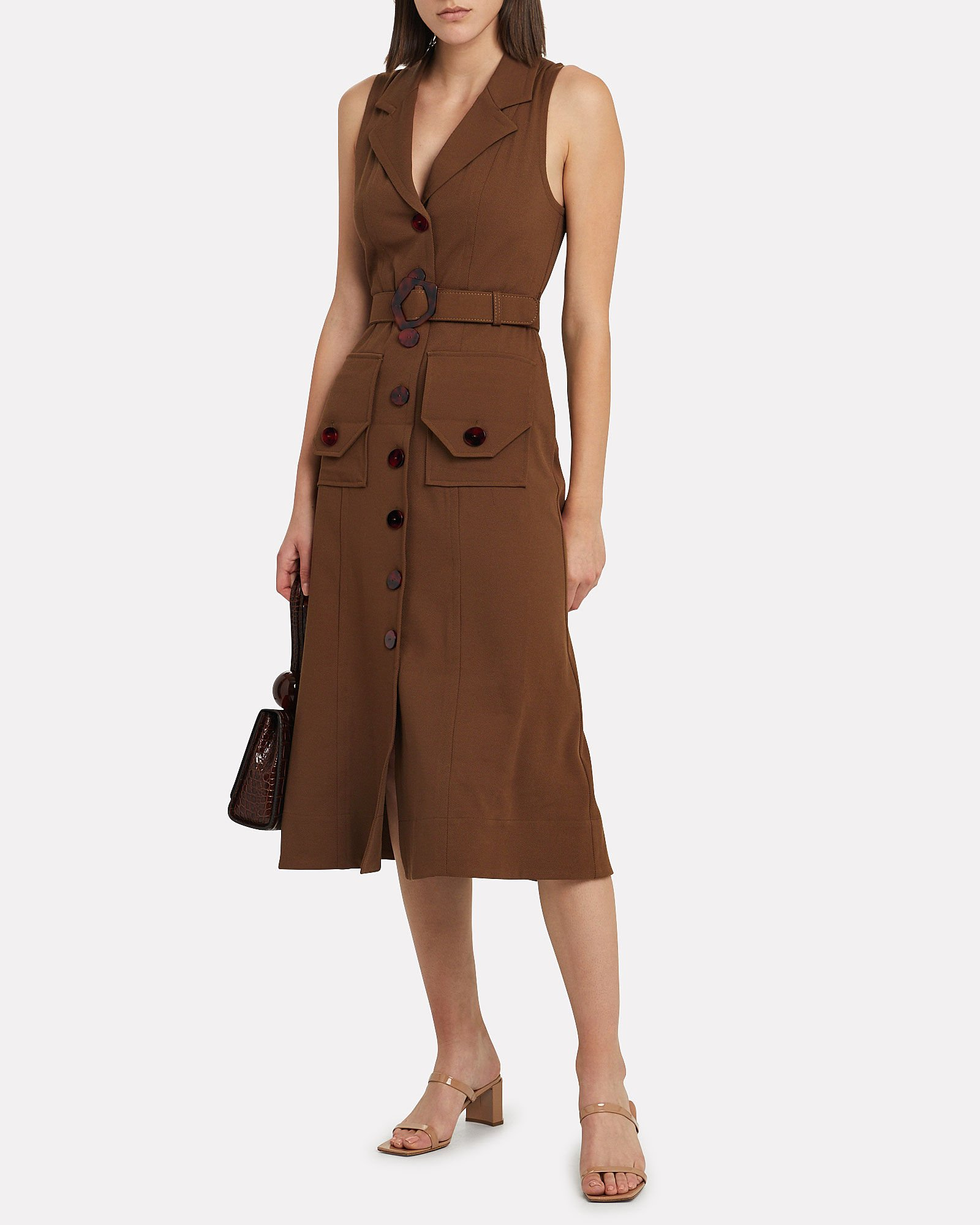 Silk Twill Button-Up Dress, OLIVE/ARMY, hi-res