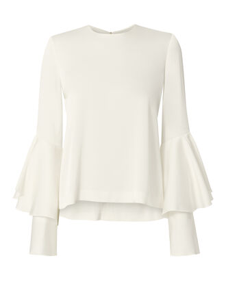 Tiered Bell Sleeve White Satin Top, , hi-res