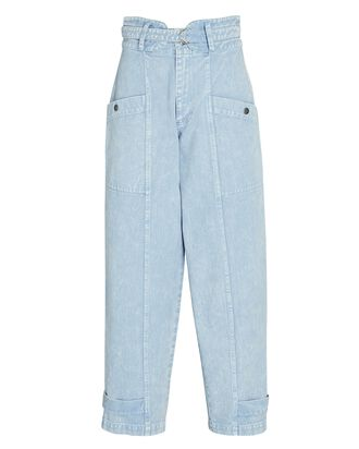 Belted Straight-Leg Jeans, ACID WASH DENIM, hi-res