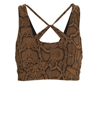 Cary Python Printed Sports Bra, BROWN, hi-res