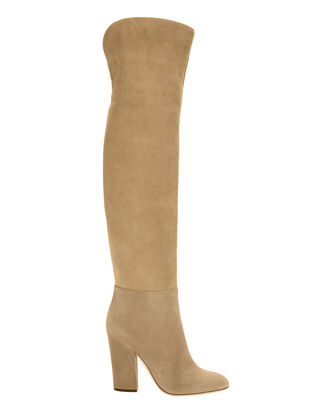 Virginia Khaki Suede Over-The-Knee Boots, BEIGE, hi-res