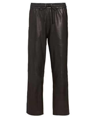 Amari Leather Straight-Leg Pants, BLACK, hi-res