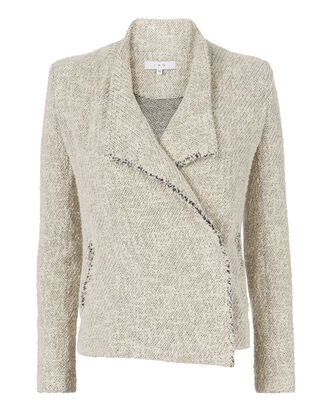 Mira Fringe Tweed Wrap Jacket, BLACK/WHITE, hi-res