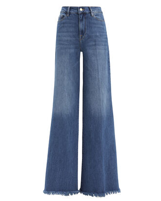 Le Palazzo Raw Edge Jeans, MEDIUM WASH DENIM, hi-res