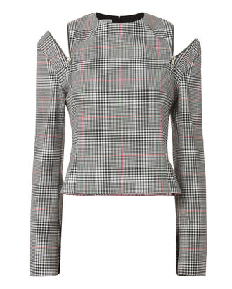 Glen Plaid Zip Cold Shoulder Top, PATTERN, hi-res