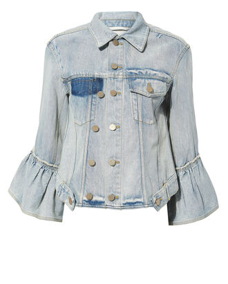 Ruffled Denim Jacket, DENIM, hi-res