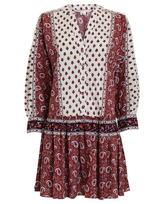 Jesila Paisley Cotton Mini Dress, WHITE/BURGUNDY, hi-res