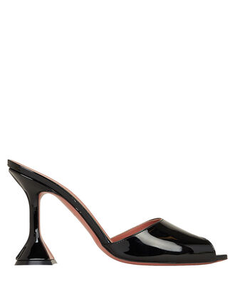 Tina Patent Leather Slides, BLACK, hi-res