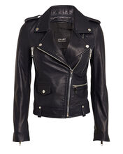 Dre Leather Moto Jacket, NAVY, hi-res
