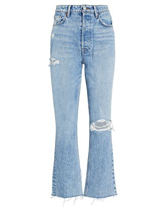 Karolina Distressed Straight-Leg Jeans, LARCHMONT WITH RIPS, hi-res