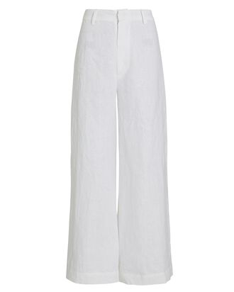 Alwin Wide-Leg Linen Pants, WHITE, hi-res