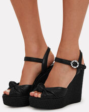 90mm Raffia Wedge Sandals, BLACK, hi-res