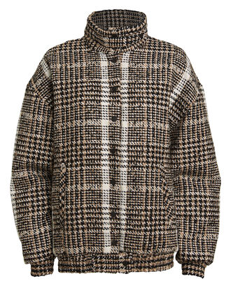 Wool Bouclé Bomber Jacket, TAUPE/CHECK, hi-res