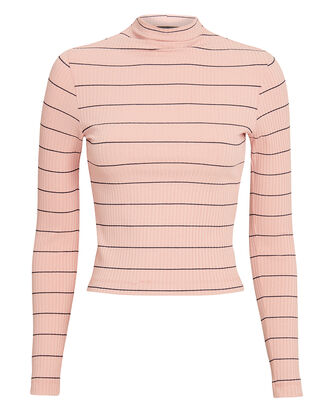 Bobbi Striped Mock Neck Top, PINK/BLACK, hi-res