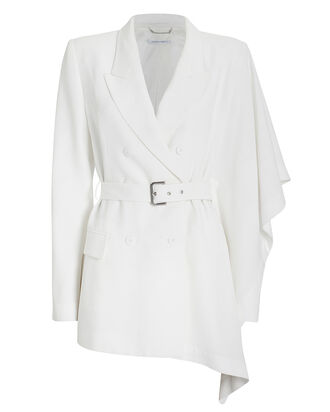 Asymmetric Double-Breasted Blazer, WHITE, hi-res