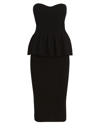 Strapless Peplum Knit Dress, BLACK, hi-res