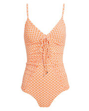 Ruched One Piece Swimsuit, ORANGE/WHITE, hi-res