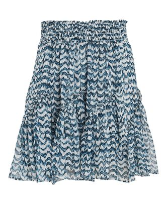 Mae Printed Silk Mini Skirt, BLUE-LT, hi-res