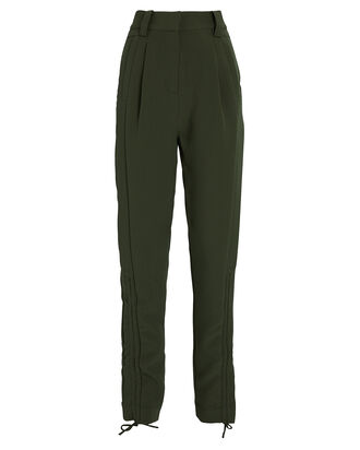 Interlace Gathered Pants, OLIVE/ARMY, hi-res