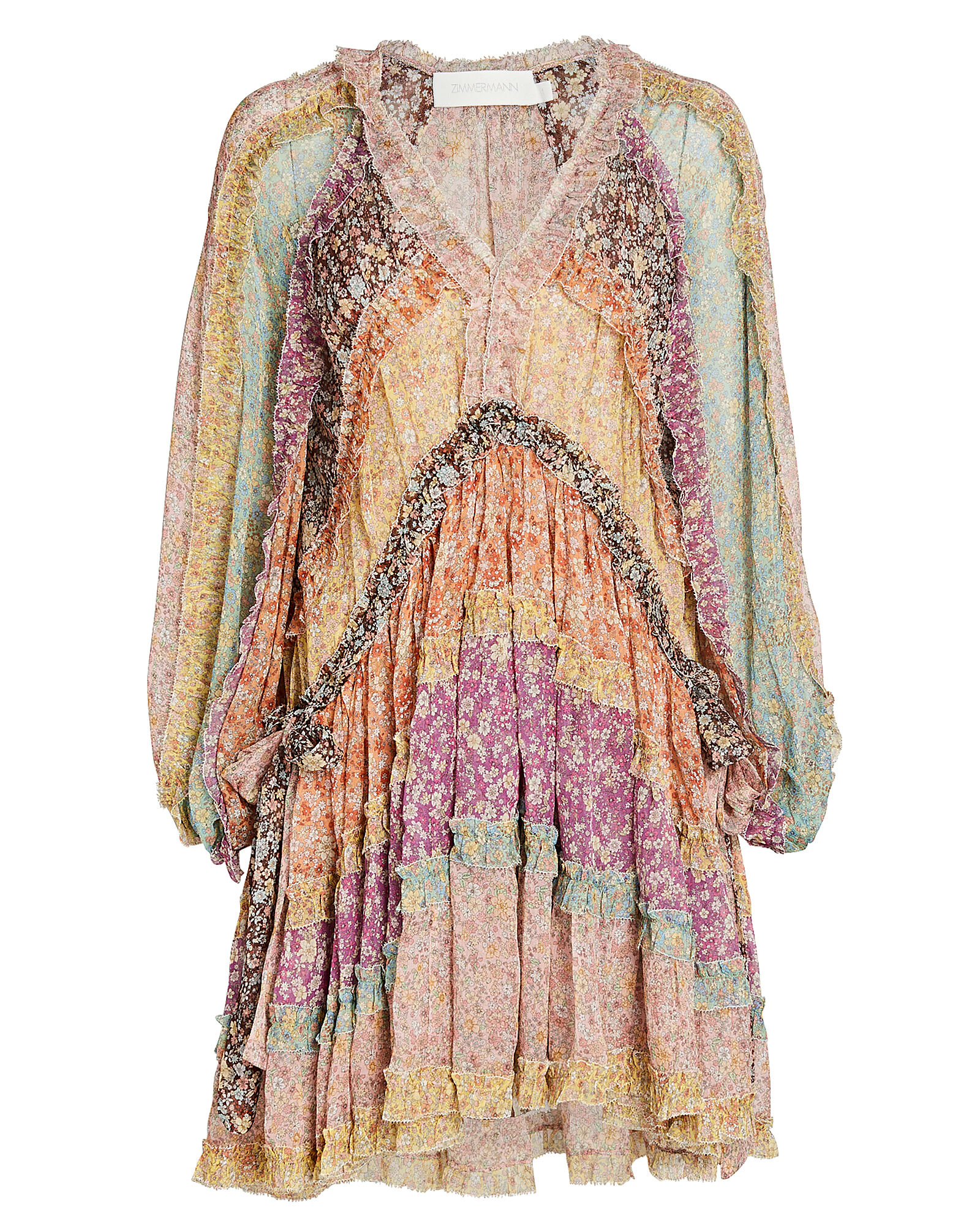 Carnaby Tiered Floral Silk Mini Dress, MULTI, hi-res