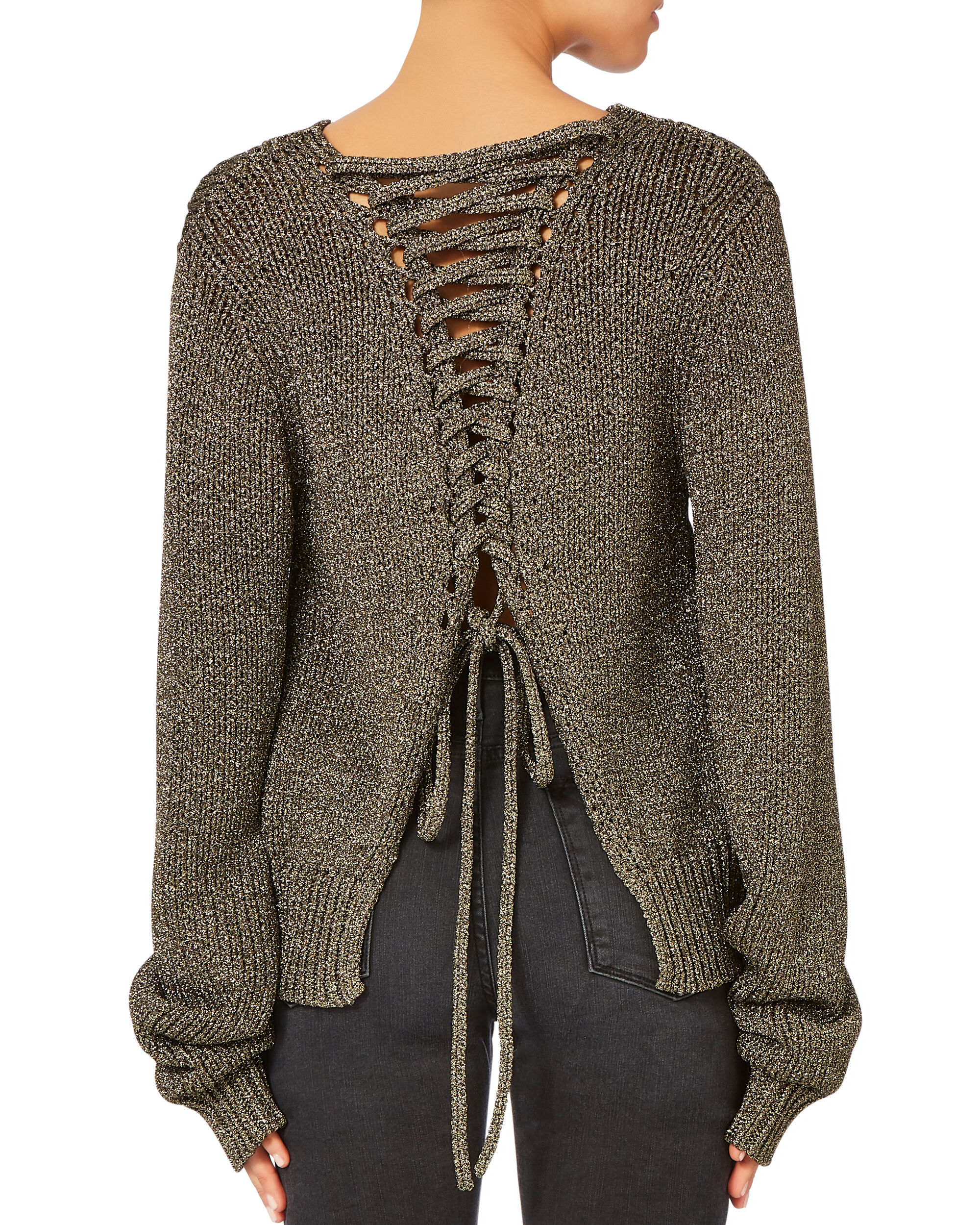 Marjorie Lace-Up Back Lurex Sweater, GOLD, hi-res