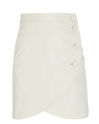 Waxed Cotton Tulip Mini Skirt, WHITE, hi-res