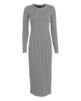 Bound Striped Midi Dress, BLACK/WHITE, hi-res
